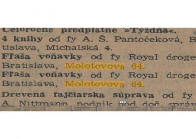 Drogéria Royal, Molotovova 64 (BA)